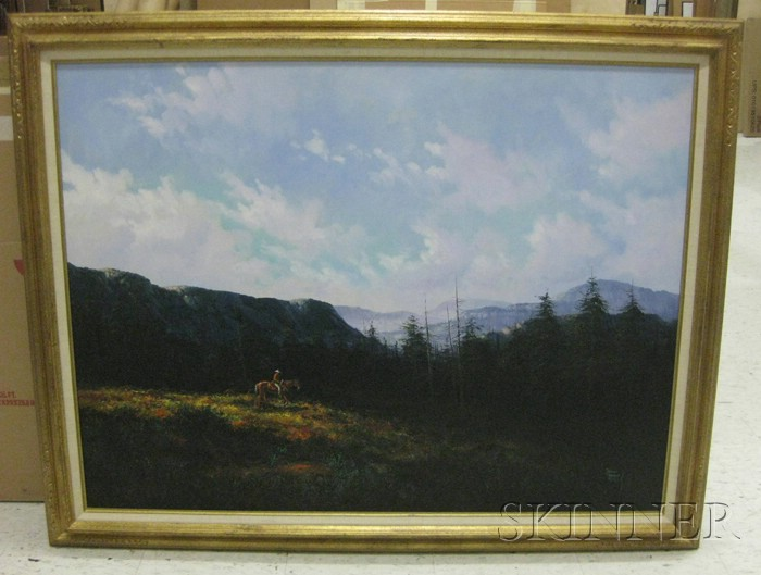 Jorge Tarallo Braun (Uruguayan, b. 1951)      Cowboy in Fall Mountainous Landscape