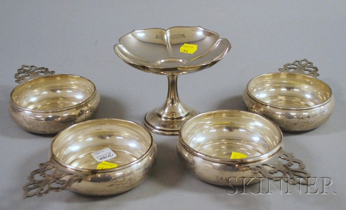 Four Richard Dimes Sterling Porringers and a Footed Randahl Compote