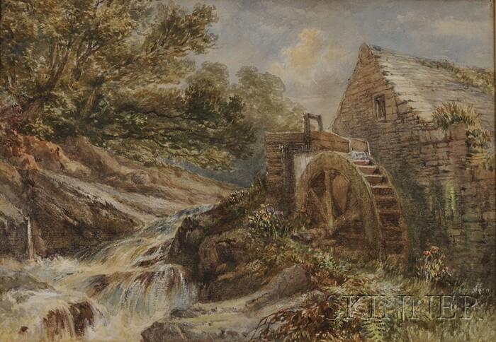 British School, 19th Century      Rustic Water Mill