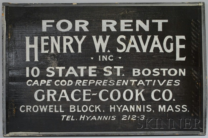 Painted Wood Sign For Rent, Henry W. Savage Inc., 10 State St., Boston, Cape Cod Representatives Grace-Cook Co., ...Hyannis, Mass.,...