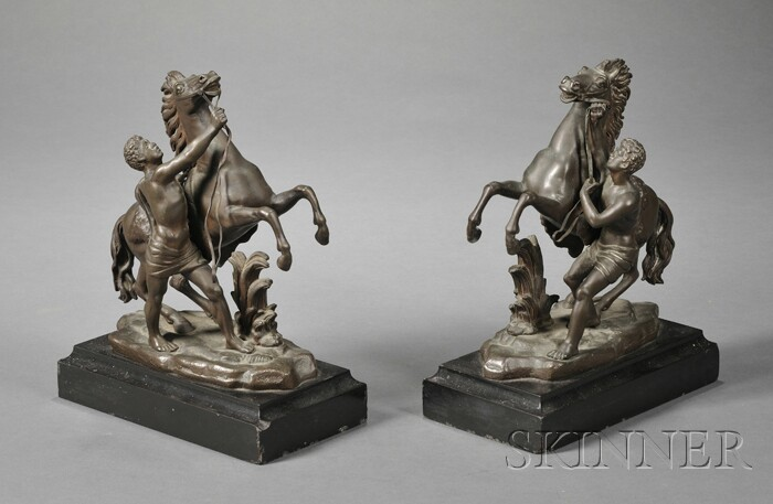 "Pair of Bronze ""Marley Horse"" Groups"