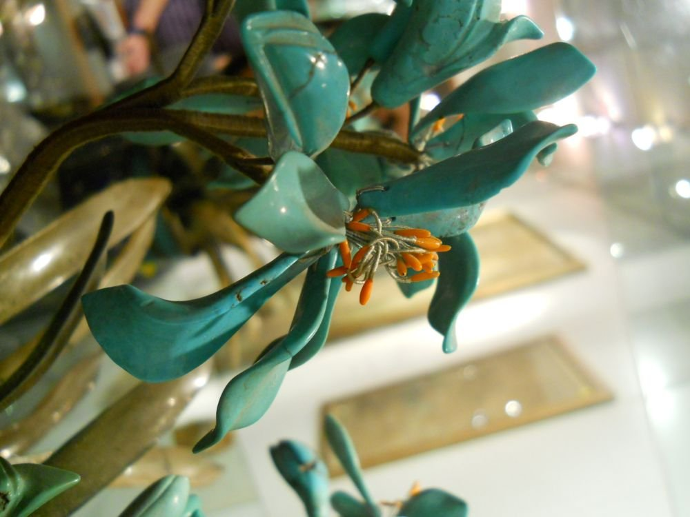 Pair of Hardstone Plants with Turquoise Flowers