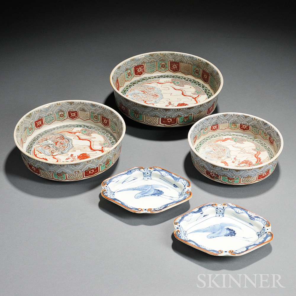 Two Sets of Three Imari-style Bowls and Two Sometsuke Dishes