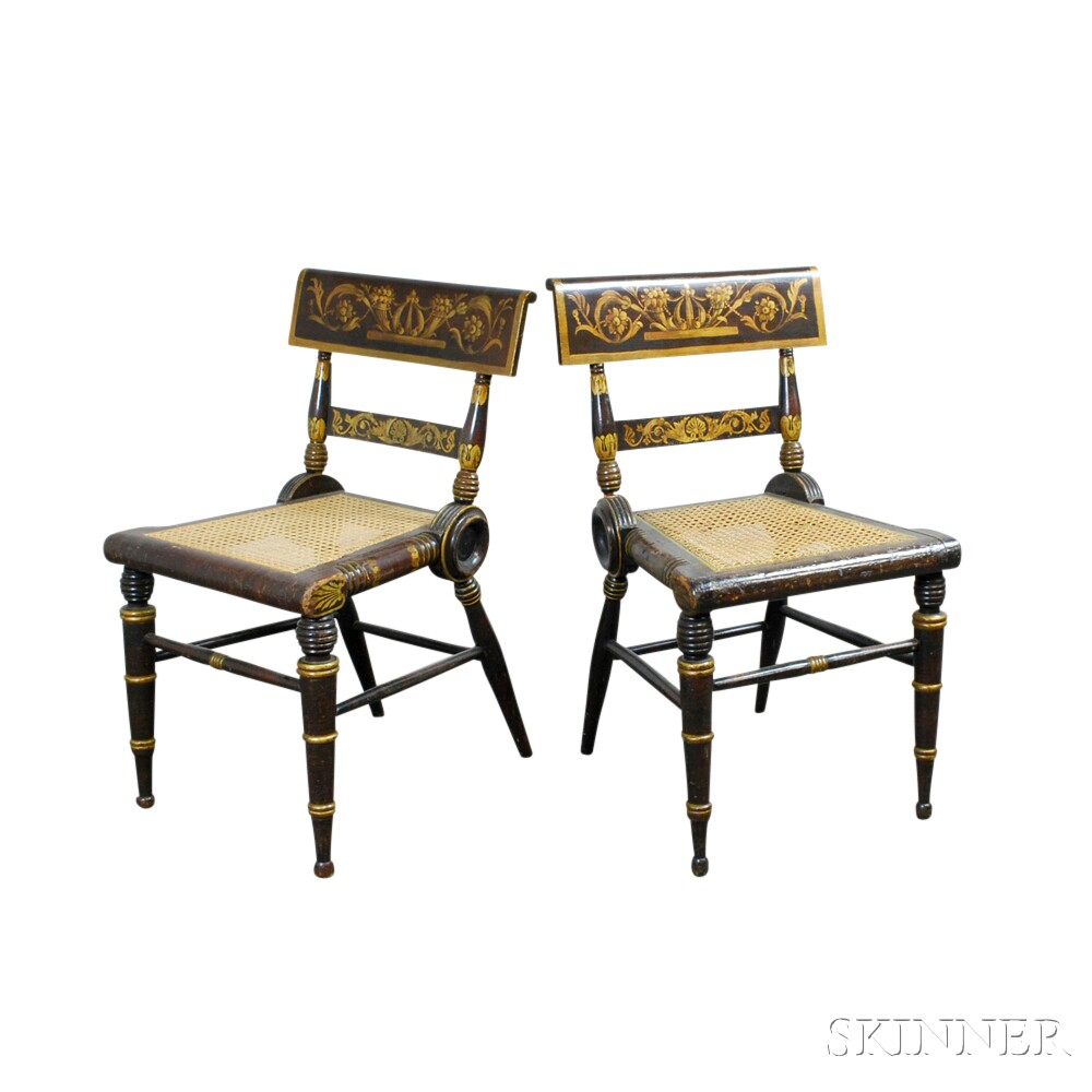 Pair of Paint-decorated and Gilt Fancy Chairs