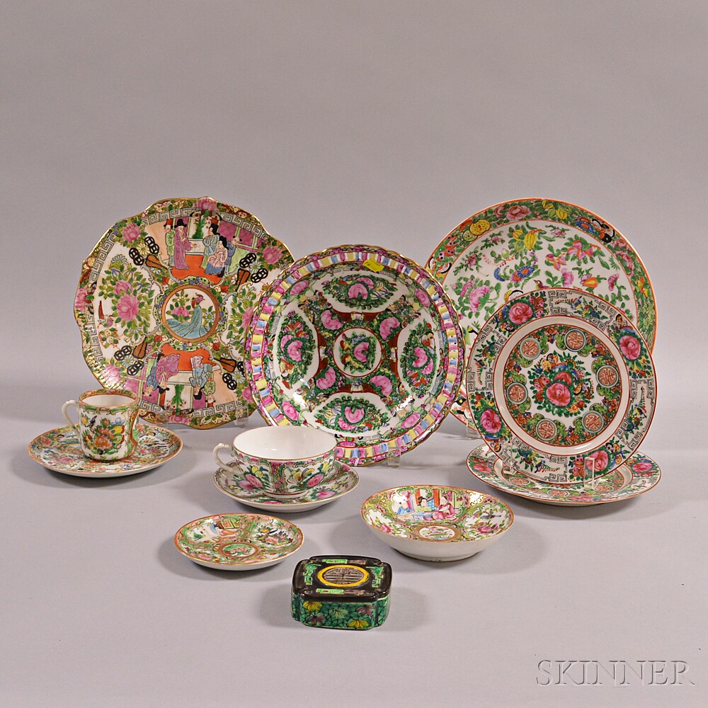 Twelve Enameled Porcelain Items