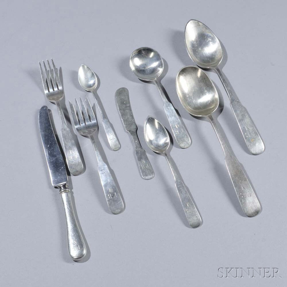 """Old Newbury Crafters """"Panel Antique"""" Pattern Sterling Silver Flatware Service"""