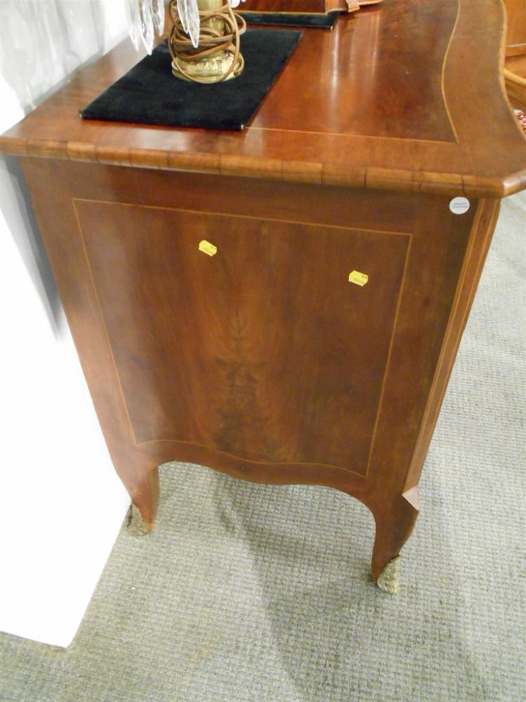 Continental Inlaid Serpentine Fruitwood Commode