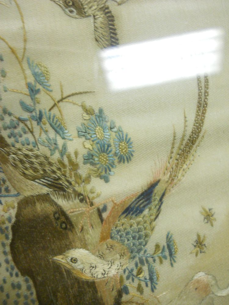 Table Screen with Embroidered Panel