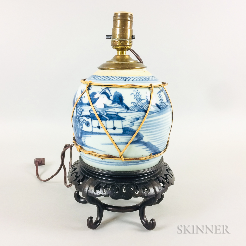 Canton Porcelain Ginger Jar on Stand