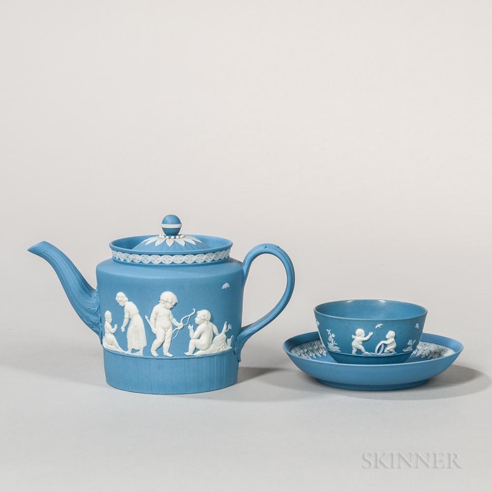 Two Wedgwood Solid Blue Jasper Tea Wares