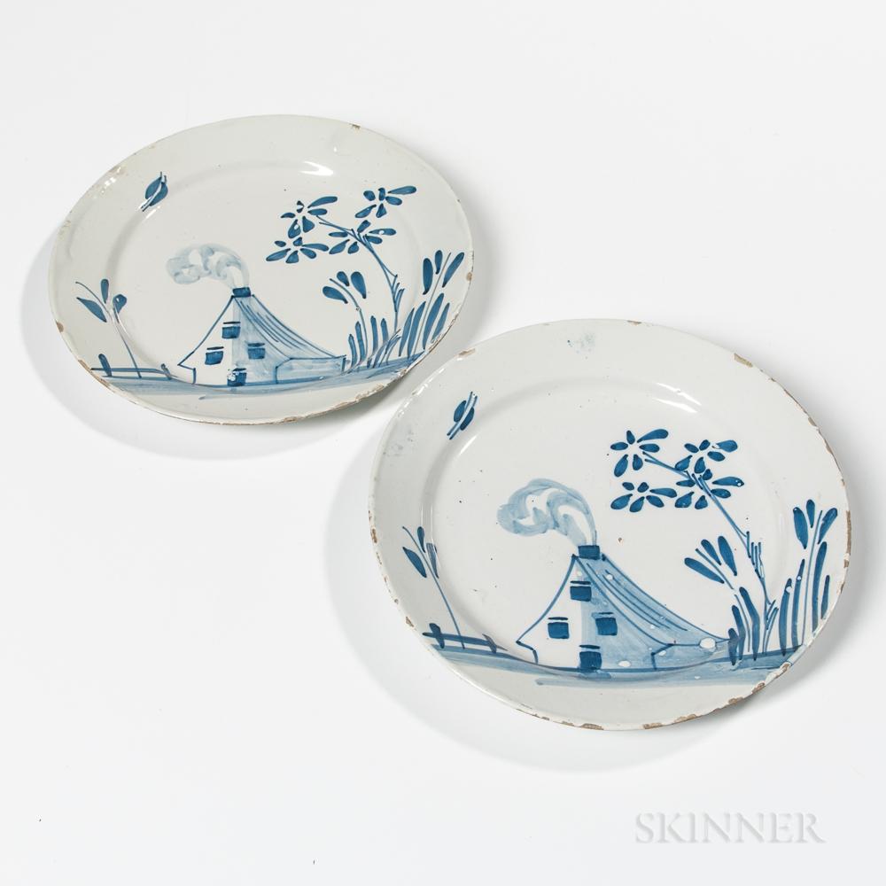 Two Tin-glazed Earthenware House Plates