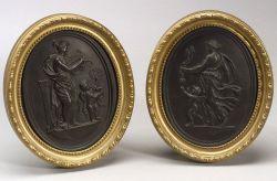 Pair of Wedgwood Black Basalt Self-framed Plaques