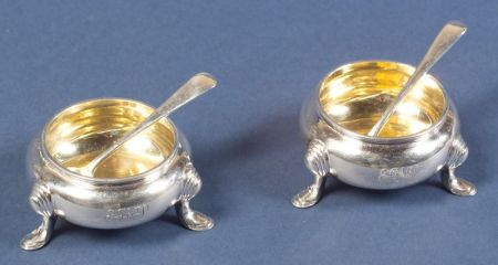 Pair of George V Silver Open Salts and Spoons