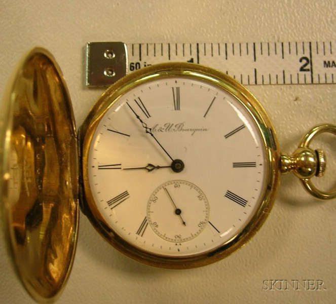 18kt Gold Hunter Case Savonnette A. & U. Bourquin, Bienne Key-wind Pocket Watch