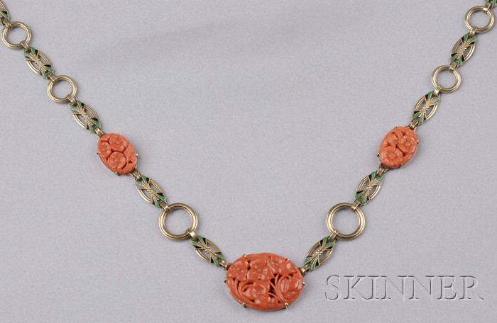 Art Deco 14kt Gold, Coral, and Enamel Necklace, Krementz & Co.