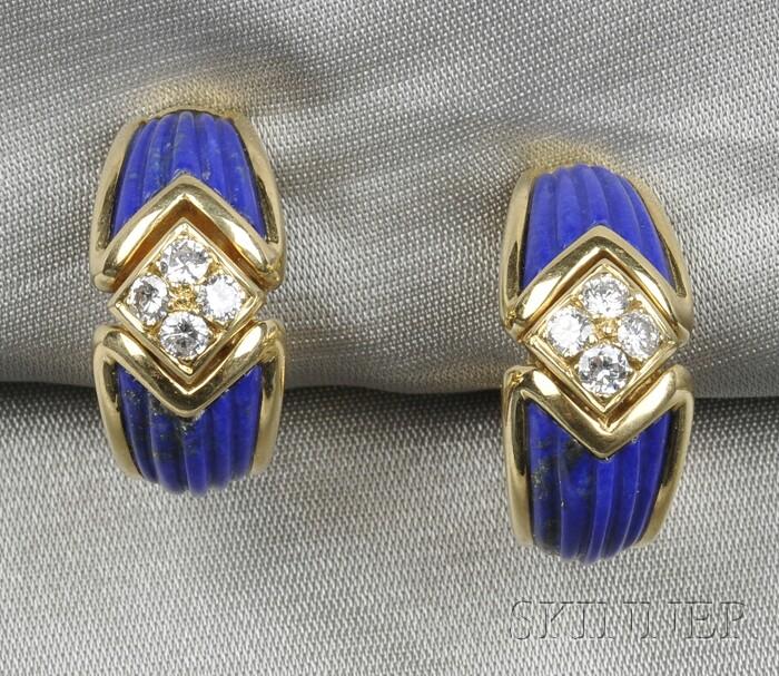 18kt Gold, Lapis, and Diamond Earclips, Boucheron, France