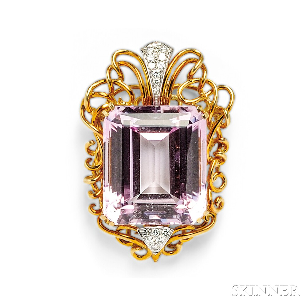 18kt Gold, Kunzite, and Diamond Pendant/Brooch, Henry Dunay