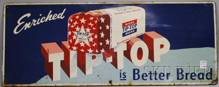 Painted Metal Tip-Top Bread Advertising Sign