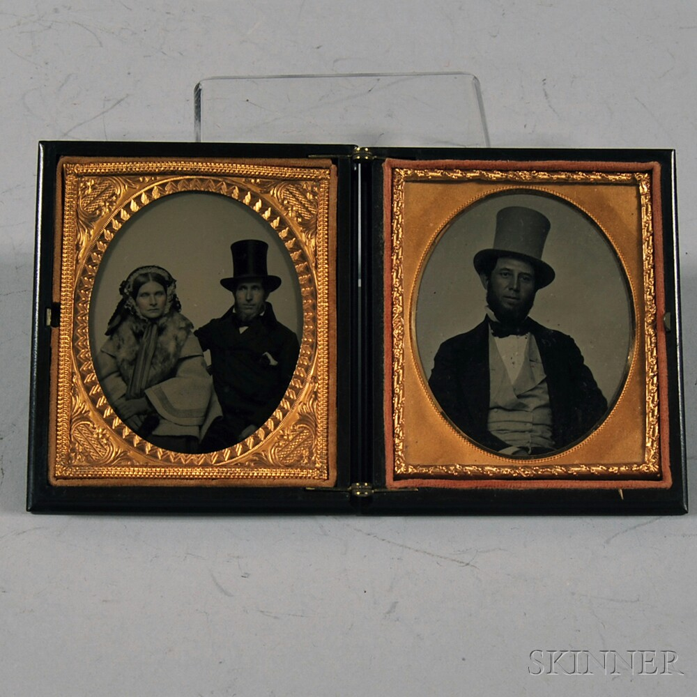 Double Sixth-plate Ambrotype Portraits of a Couple and a Man Wearing a Top Hat