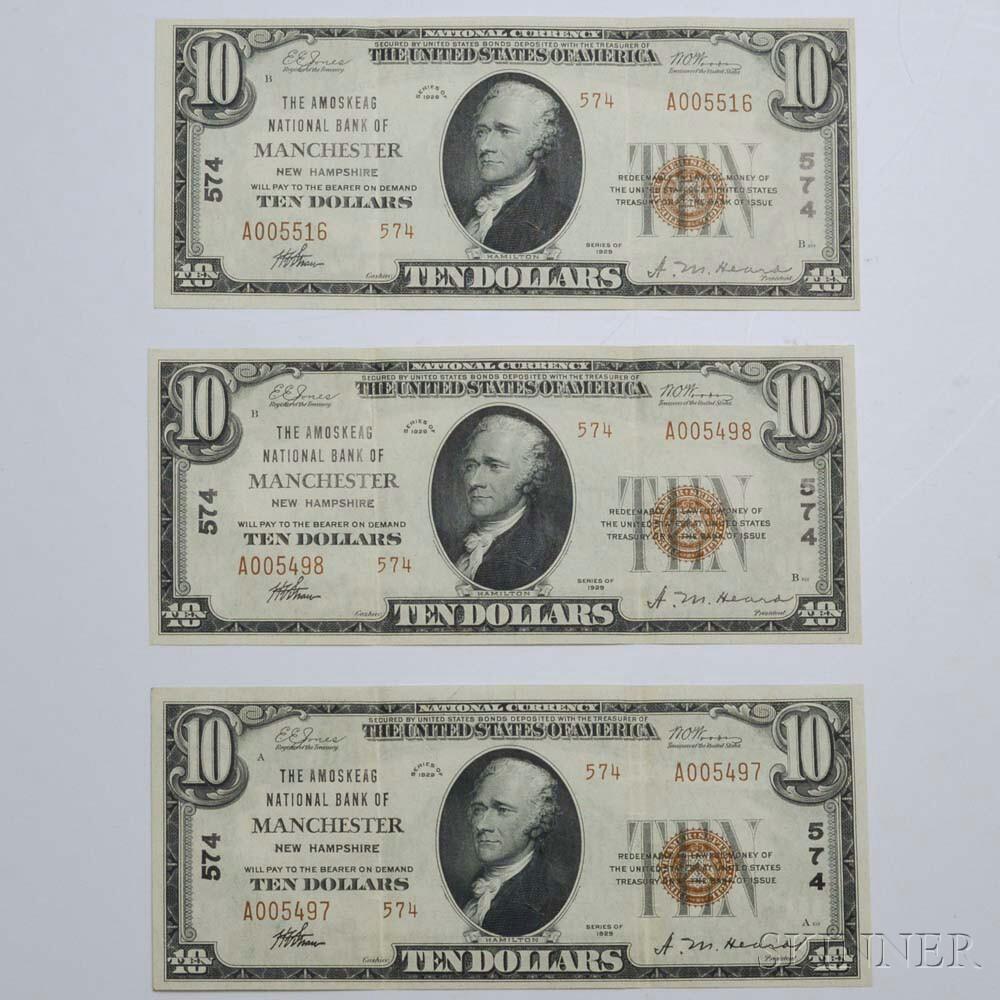 Three 1929 The Amoskeag National Bank $10 Banknotes