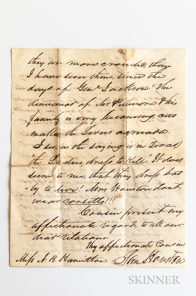 Houston, Sam (1793-1863) Autograph Letter Signed, 8 January 1850.