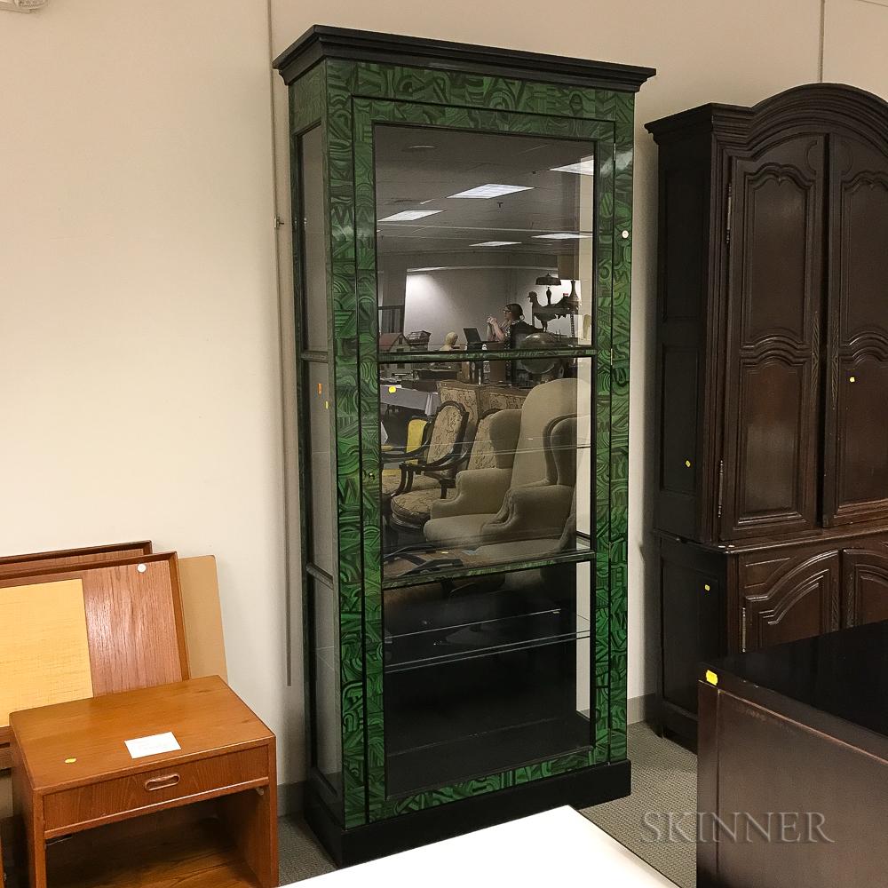Faux Malachite Six-shelf Display Cabinet