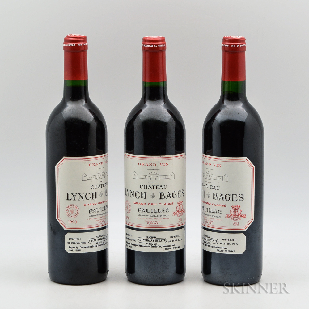 Chateau Lynch Bages 1990, 3 bottles