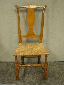 Queen Anne Spanish Foot Side Chair.