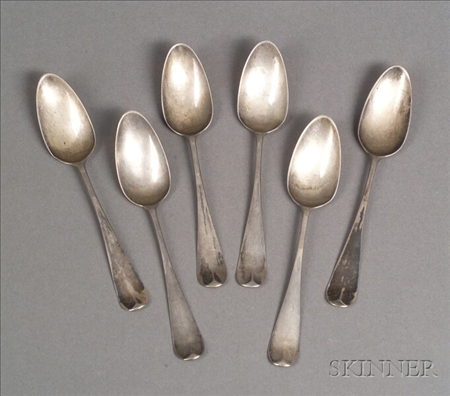 Six Small Bright-cut Silver Spoons