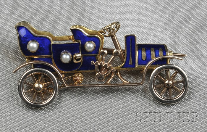 Gold, Enamel, and Split Pearl Touring Car Brooch