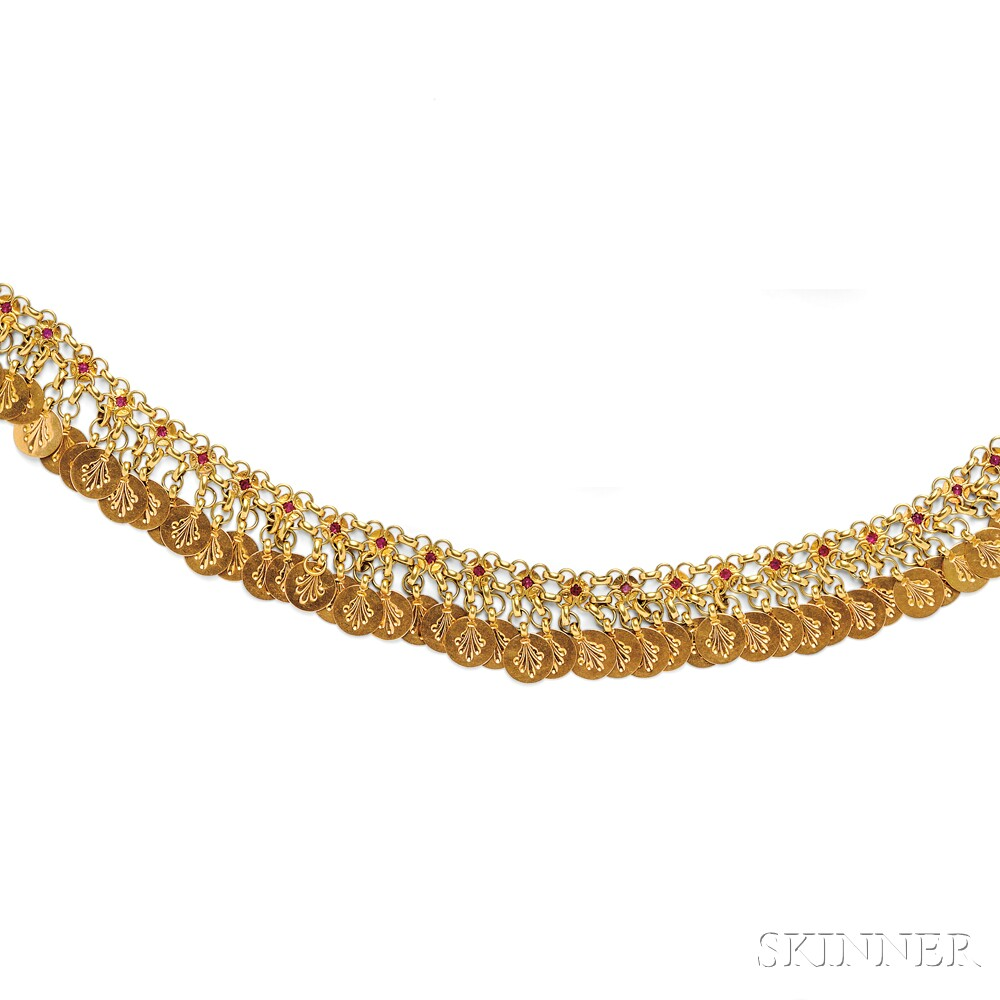 Gold and Synthetic Ruby Fringe Necklace
