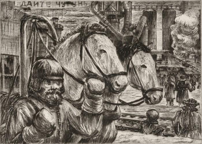 Niels Yde Andersen (Danish/American, 1888-1952)      Lot of Four Genre Scenes: Horse Power and Industry