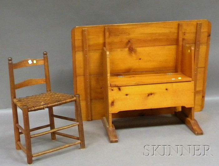 Country Rectangular Pine Breadboard-top Hutch Table and a Small Wood Slat-back   Chair with Woven Splint Seat