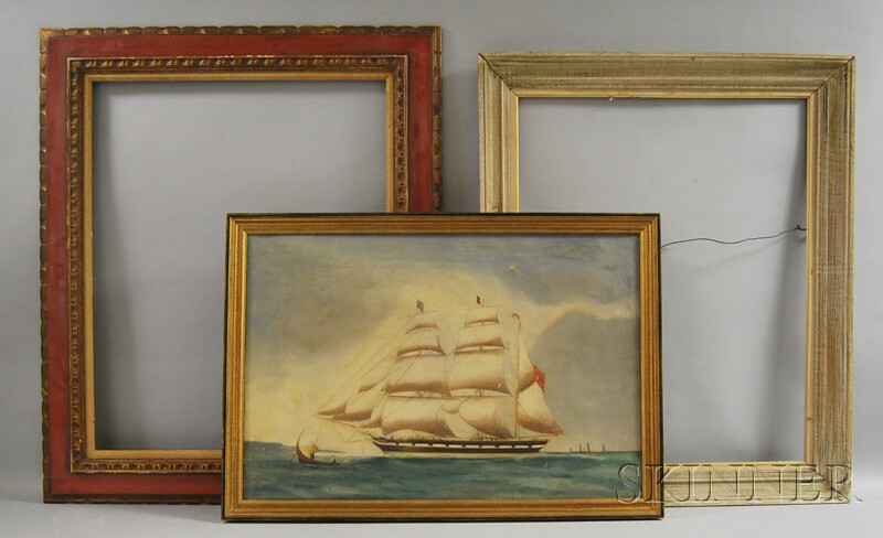 Framed Oil on Canvas Painting of a Schooner and Two Contemporary Wooden Frames