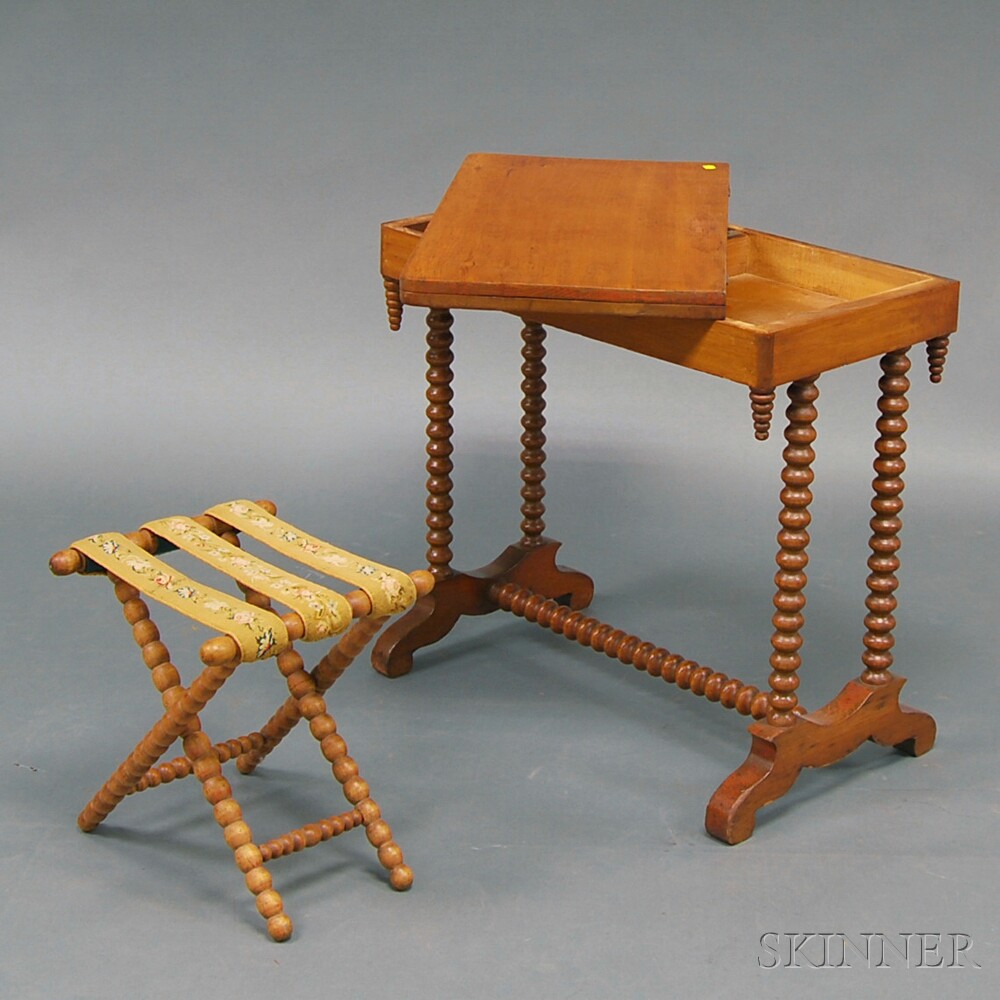 Spool-turned Game Table and Folding Stool