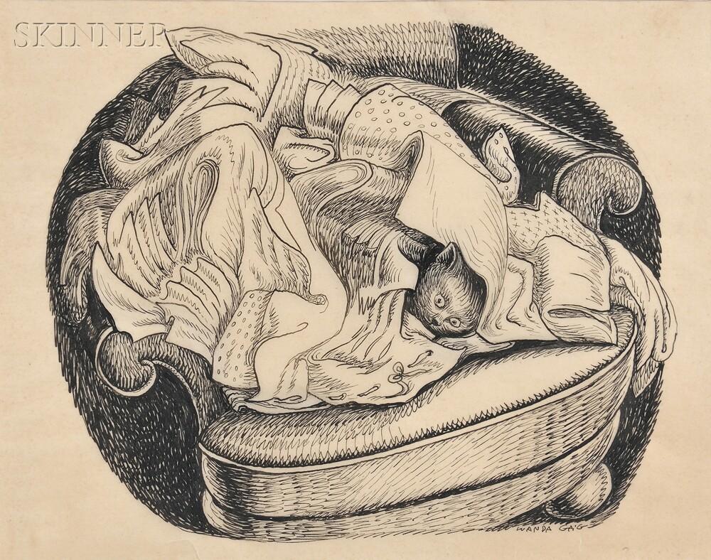 Wanda Gag (American, 1893-1946)      Cat Hiding in a Laundry Pile