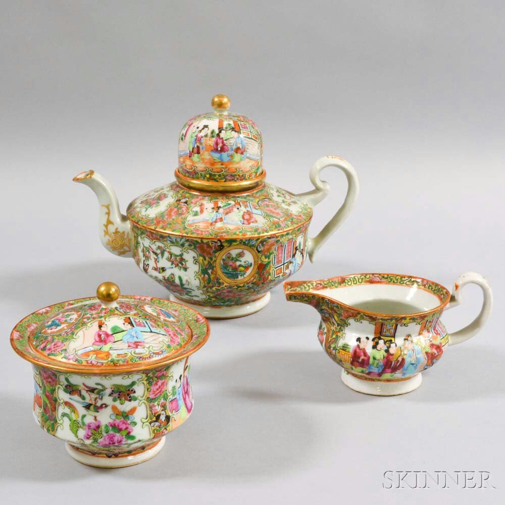 Three-piece Rose Medallion Porcelain Tea Set