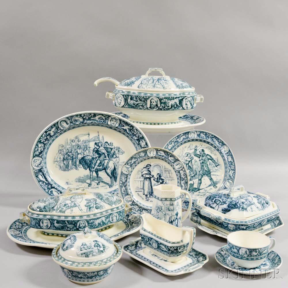 Extensive Assembled Wedgwood Blue Transfer Printed Ivanhoe Dinner Service