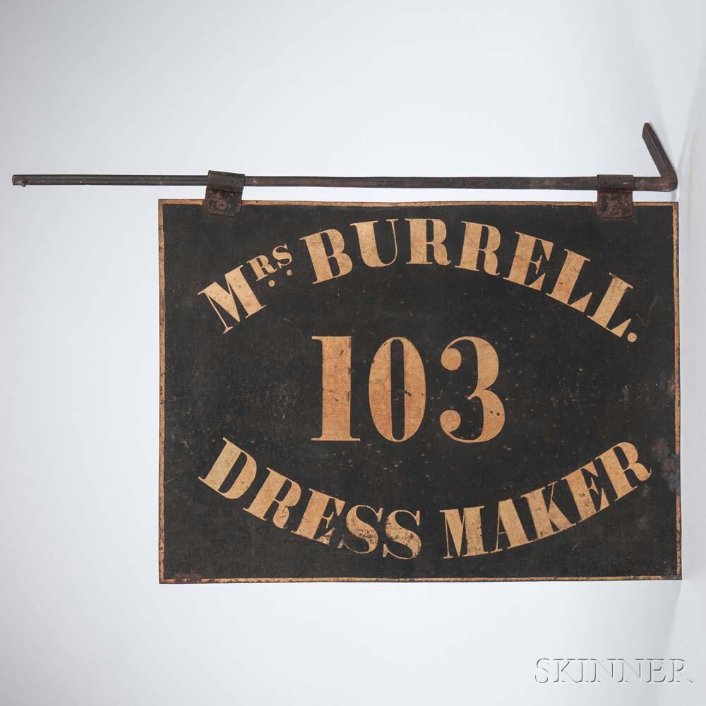 """Painted Tinned Sheet Iron """"MRS BURRELL"""" Dress Maker's Sign"""