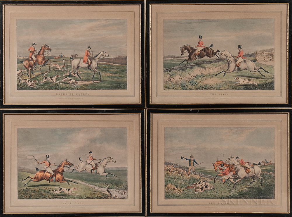 Set of Four Fox Hunt Lithographs