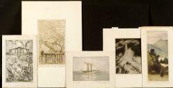 Lot of Eleven Miscellaneous Prints:  Vera Andrus (American, 1896-1979), Shore Motifs