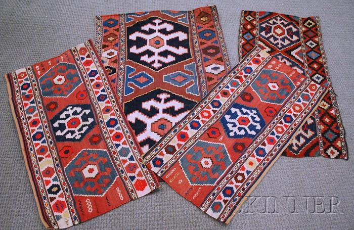 Four Shahsavan Kelim Cargo Bag Side Panels