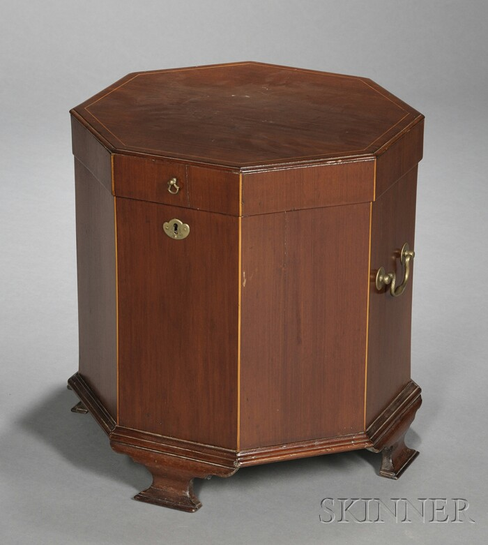 Octagonal Inlaid Mahogany Wine Cooler
