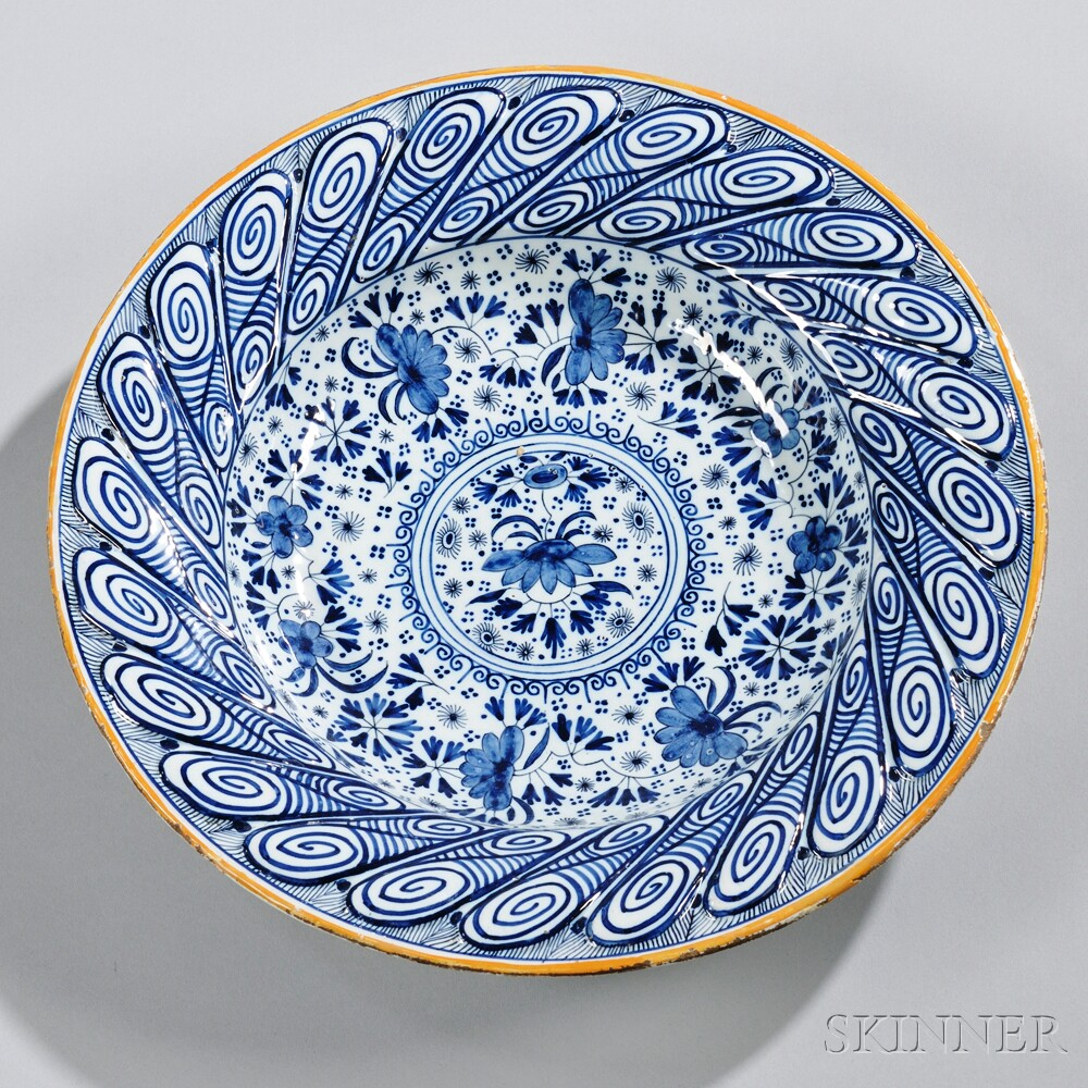 Dutch Delftware Blue and White Floral Decorated Charger