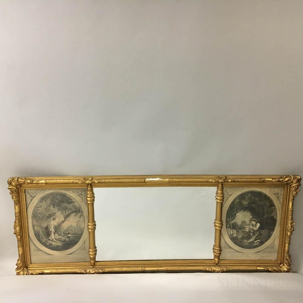 Rococo-style Gilt Tripartite Overmantel Mirror