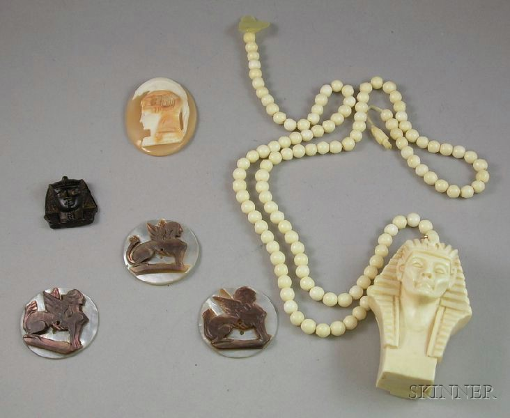 Group of Egyptian and Classical Revival Findings and Jewelry