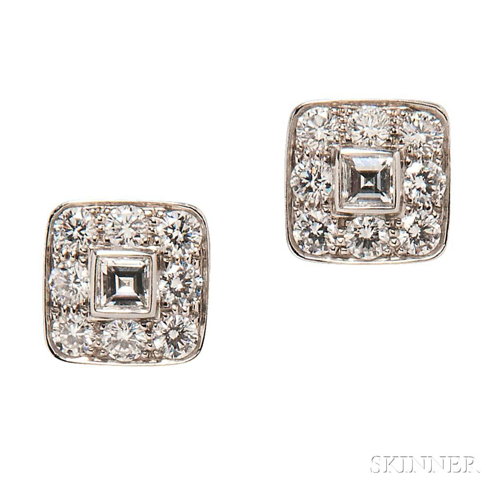 Platinum and Diamond Earrings, Tiffany & Co.