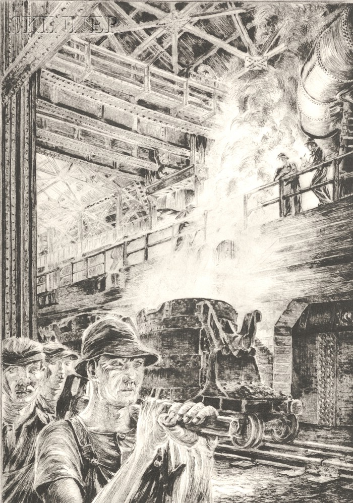 Niels Yde Andersen (Danish/American, 1888-1952)      Lot of Three Images of Factory Workers: All Together Now;   Shift Workers;
