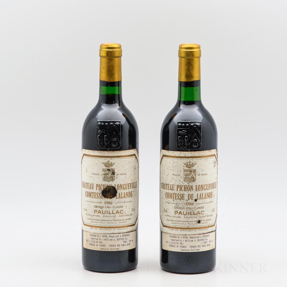 Chateau Pichon Lalande 1986, 2 bottles