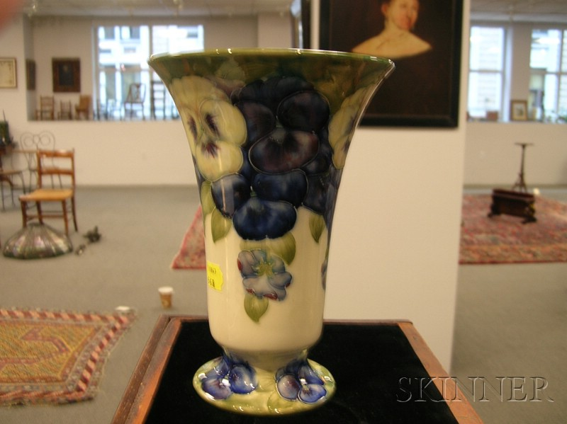 Two Moorcroft Pansy Decorated Vases